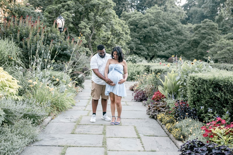 Maternity Photography, couple standing together on a rock pathway