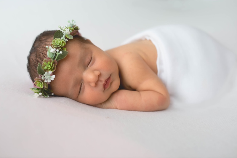 Newborn Photography, baby wrapped in white