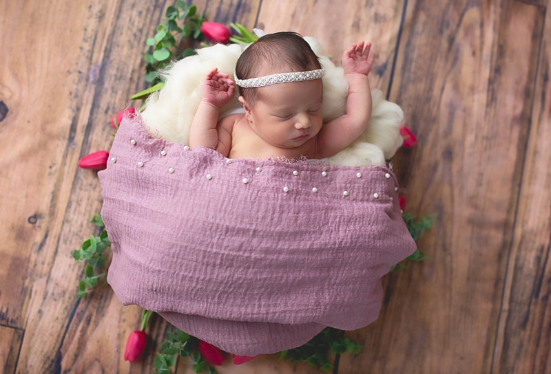 Newborn Photography, baby girl asleep in basket