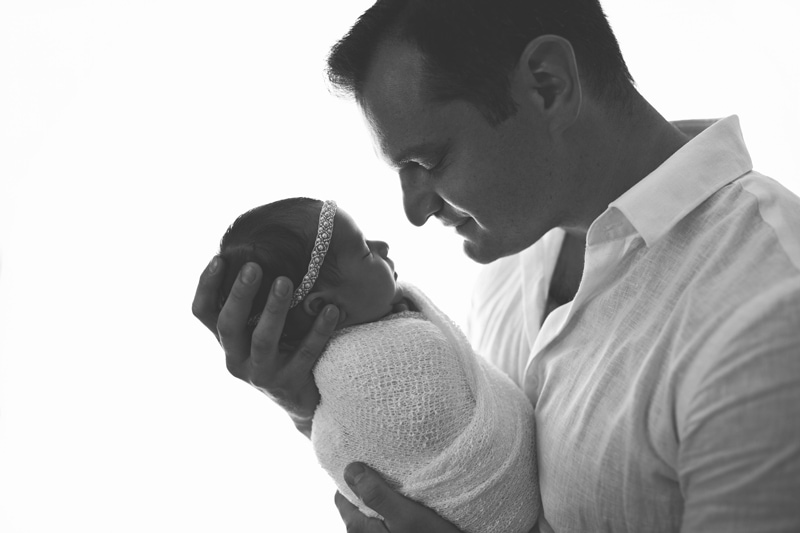 Newborn Photography, black and white of father with baby