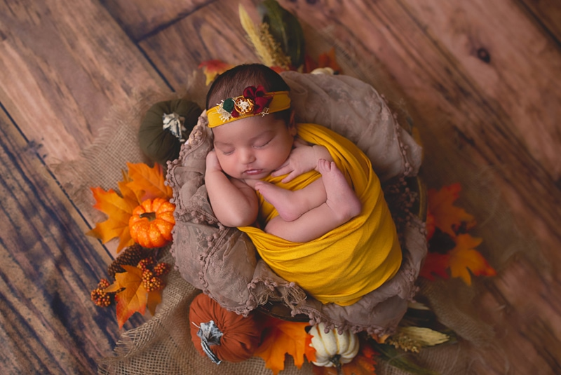 Newborn Photography, baby wrapped in yellow with fall decor